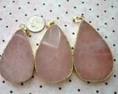 Shop Sale..  Rose Quartz Pendant Charm, Teardrop Drop, 40-60 x 25-35 mm, 1.5-2.5 inches, pick gem, Gold Electroplated Edge, ap41.2
