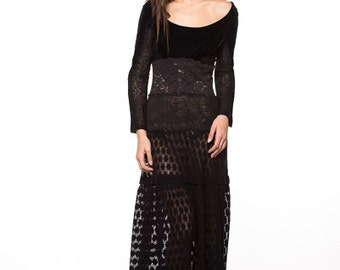 Mixed Lace Long Sleeve Floor Length Stretch Black Fall Dress