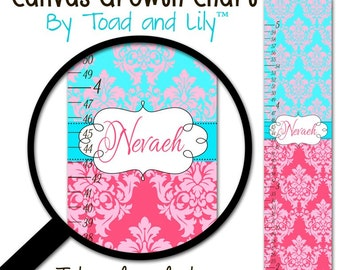 Canvas GROWTH CHART Turquoise and Pinks Damask Girls Bedroom Baby Nursery Wall Art Personalized Canvas Growth Chart GC0211