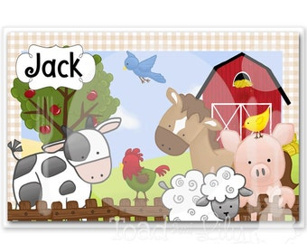 Kids PLACEMAT Farm Animal Children's Personalized Wipe-able Place Mat Learn to Set the Table Laminated Kids Placemat PLM007