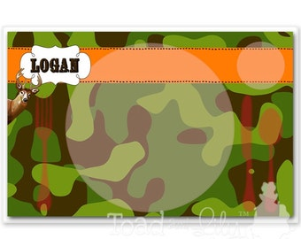 Kids PLACEMAT Camo Deer Hunting Children's Personalized Wipe-able Place Mat Learn to Set the Table Laminated Kids Placemat PLM038