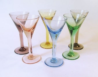 Fun Set of 6 Multi-Colored Glass Cordial or Liquor Stems - Sherry or Shot Glasses