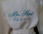 Brides Robe Personalized Mrs. Name on the back with date Waffle Weave Spa Robe Embroidered Bridal gift.