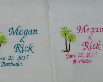 Wedding Beach Towels 2 Personalized With Names Date And Destination Great Gift