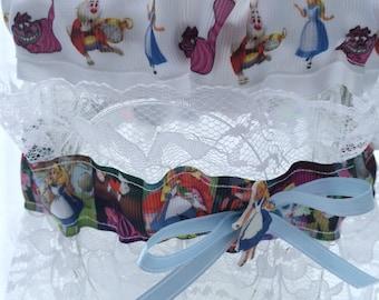 Alice in Wonderland Mad Hatter Wedding Garter Set Geek Nerd