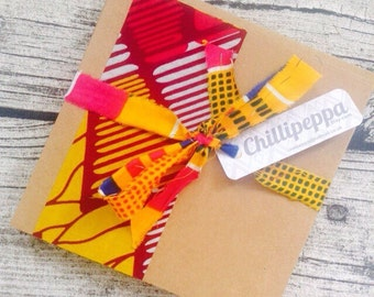 10 African wedding invitations, African wax print strip wedding invitation card set with envelopes, Bright wedding invitation