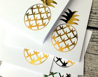 5 Gold pineapple wedding invitations, Gold pineapple wedding invitation card set with envelopes, Gold wedding invitation
