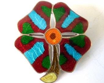 Vintage Mexican Castelan Flower Pin | Handmade Mexico | 925 Sterling Silver Enamel  Brooch | Margot Style | Guilloche Enamel Taxco Sterling