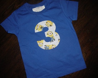 Despicable Me Minion Birthday Party Inspired Shirt Tee 3rd Third Birthday 3T Yellow Blue