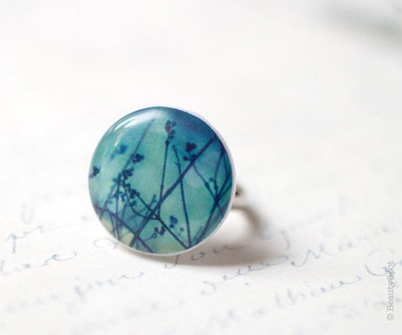 Blue Cocktail Ring - Adjustable ring - Blue ring - Tree jewelry - Branches jewelry - Teal ring - Photo art jewelry (R007)