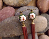 "Hairsticks or Hairpins Featuring Cloisonné Flowers and Little Birds, Dark Green Long Hair Accessories ""Tweeting in the Garden"""