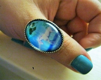 PEGASUS RING, mystical image white on bright blue, antiqued silver adjustable setting