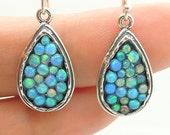 Sterling silver earrings with mosaic opal stones drop shape