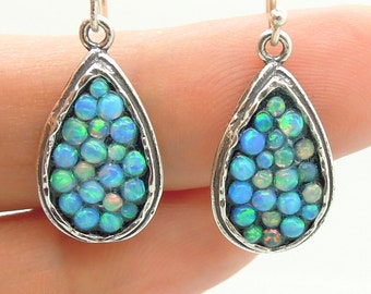 Sterling silver earrings with mosaic opal stones drop shape