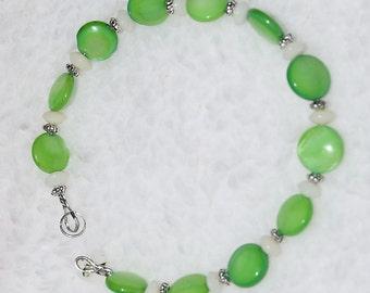 Green & white bracelet