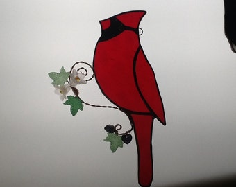 Spring Time Cardinal Stained Glass Suncatcher