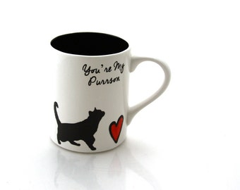 Cat mug, you're my purrson, greys anatomy parody, can be personalized with cats names