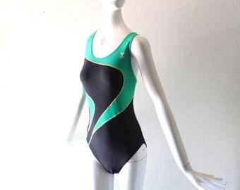 Vintage 80s Lycra Color Block Bathing Suit - TYR size 38 MED One Piece 1980s Maillot - High Cut Leg Open Racer Back - Gottex OP Style
