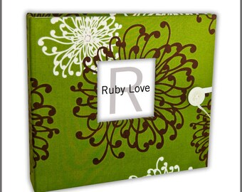 BABY BOOK | Green and Brown Floral Spray Album | Ruby Love Modern Baby Memory Book