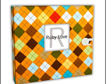 BABY BOOK | Orange Argyle Album - Modern Baby Memory Book