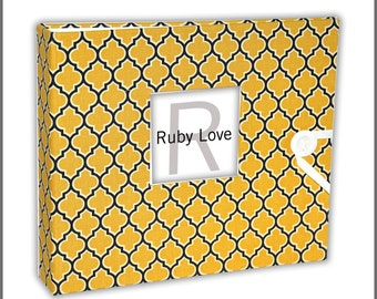 BABY BOOK | MOD Yellow and Gray Lattice Baby Book | Ruby Love Baby Memory Book