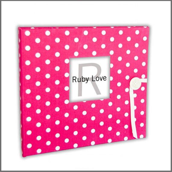 Hot Pink Baby Dot Baby Book - Modern Baby Memory Book