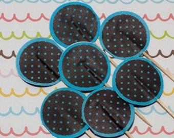 SALE - Fun Pix - Dark Brown/Blue Polka Dots