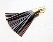 Leather Tassel Keychain Dark Brown Gold Tassel Key Ring With Clasp Gold Accessorie For Bag Tassel Charm