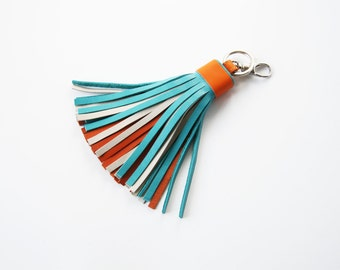 Leather Tassel Key Chain Turquoise Orange Bag Charm Multicolor Tassel