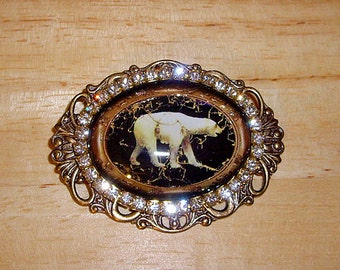 Polar Bear Swarovski Crystals With Glitter Art  Bubble Cameo Pin Brooch Pendant Signed C Erbsland