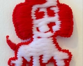 Vintage juvenile cute red and white synthetic fiber sew on puppy applique