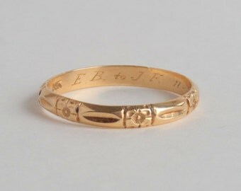 Art Deco Eternity Ring. 1930s Floral 14k Gold. 11