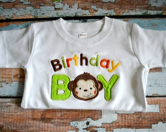 Monkey Birthday Shirt, Mod Monkey Birthday Shirt, Boys Birthday Shirt, Birthday Boy Shirt
