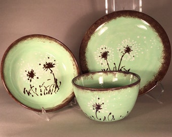 Dandelion mint green dinnerware set of three