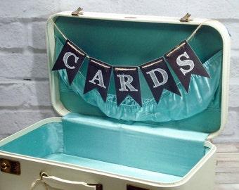 Cards Chalkboard Style Banner, Bride Groom wedding bunting, wedding photo prop reception backdrop decor sign