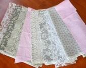 Pink and Grey Fabric Scraps Tutu Skirt  Scrappy Tutu Made to Order size Newborn to 4T