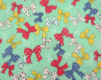 2613B - Sale - Lovely Tiny Dots Bowknot Fabric in Green