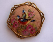 Antique Limoges Porcelain Brooch Hand Painted P Pastaud Birds Singing Cherry Blossom