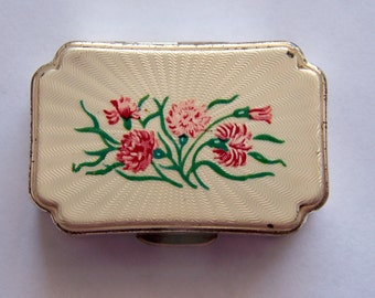 Vintage 1960's Stratton Enameled Pill Box Decorated with Carnation Flowers