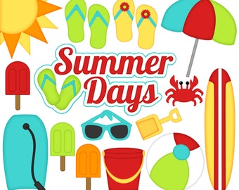 Summer Days Digital Clipart - Set of 17 - Sun, Surfboard, Flip Flops, Sunglasses, Popsicle - Instant Download - Item#8258