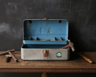 Vintage Tool Chest Box Silver And Blue Union Chest From Nowvintage on Etsy