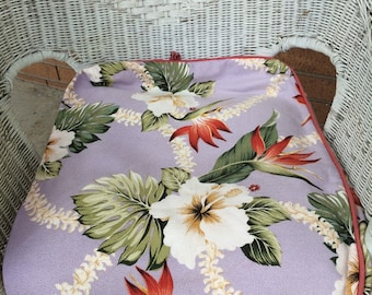 Vintage Barkcloth Slipcoves 3 seat and 3 pillow Lavender Background Flower Print Free US Shipping