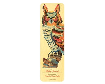 Dolan Owl Wood Bookmark - A Collaboration with Mixed Media Artist Dolan Geiman - Real Birch Wood Bookmark - WM2114