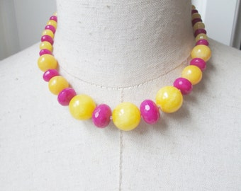 Bright Pink Yellow Chunky Beaded necklace, Fuschia
