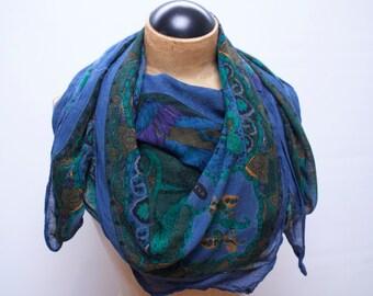large soft blue rayon scarf