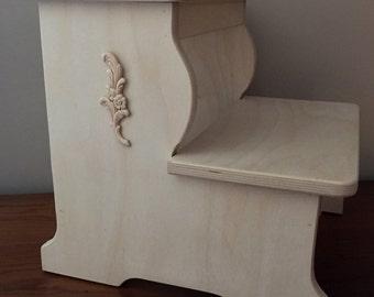 BIG BOY - Wood Step Stool - UnFinished W/Ornate & Wood step stool | Etsy islam-shia.org