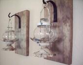 Lantern pair, wall decor, bedroom wall decor,  wall sconces, housewarming gift, bathroom decor, rustic wood boards