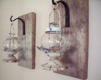 Lantern pair (2), wall decor, bedroom wall decor,  wall sconces, housewarming gift, bathroom decor, rustic wood boards