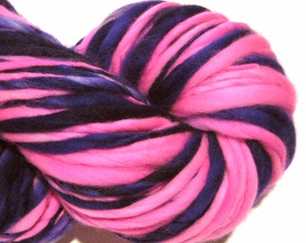 Handspun Yarn Land of Make Believe 114 yards hand dyed merino wool purple yarn pink yarn waldorf doll hair knitting supplies crochet