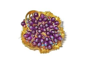 Vintage BSK Rhinestone Leaf Brooch, AB  Stones, Confetti Lucite Beads, Purple,